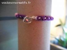 Bracelet brésilien coeur violet et blanc