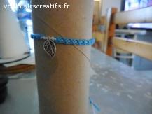 Bracelet brésilien feuille bleu et blanc