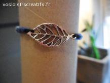 Bracelet brésilien feuille bleu et noir