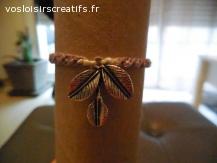 Bracelet brésilien feuille mauve et blanc