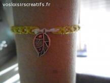 Bracelet brésilien feuille vert et blanc