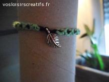 Bracelet brésilien feuille vert et noir