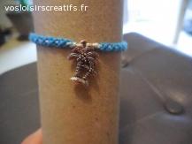Bracelet brésilien palmier bleu et blanc