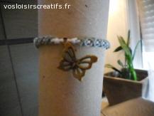 Bracelet brésilien papillon gris et blanc