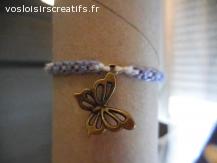 Bracelet brésilien papillon violet et blanc