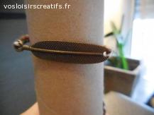 Bracelet brésilien plume marron et blanc