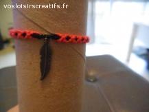 Bracelet brésilien plume rose et noir
