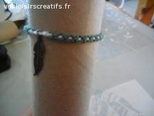Bracelet brésilien plume vert et blanc