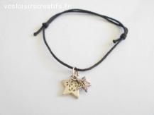 Bracelet coulissant coton ciré noir breloque 2 étoiles métal