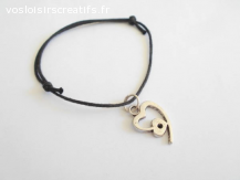 Bracelet coulissant coton ciré noir breloque coeur en métal