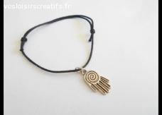 Bracelet coulissant coton ciré noir breloque main