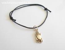 Bracelet coulissant coton ciré noir et breloque main métal