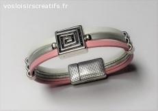 Bracelet cuir 3 rangs rose blanc gris