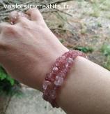 Bracelet élastique quartz fraise