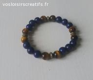 Bracelet en Oeil de tigre et lapis lazuli