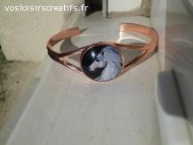bracelet jonc or rose cabochon licorne blanche