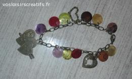 Bracelet love fait main. Nacre et coeur