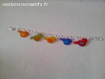 Bracelet mailles fantaisies et petits oiseaux