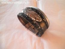 bracelet manchette cuir veritable