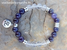 """Bracelet """"Méditation"""" en Améthyste et Cristal de Roche"""