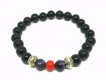 Bracelet Onyx noir argent corail Gold Stone bleu