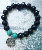 Bracelet Onyx noir Turquoise Tree of Life