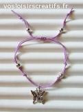 Bracelet réglable avec breloque papillon