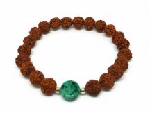 Bracelet Rudraksha et palet en nacre