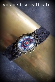 Bracelet Vintage Noir, Bleu & Rouge