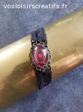 Bracelet Vintage Noir & Rose
