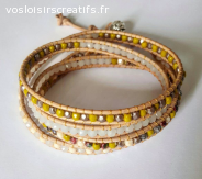 Bracelet Wrap blanc et olive