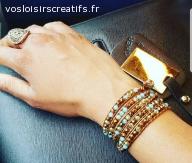 Bracelet Wrap Multi rang Cuivre et Turquoise