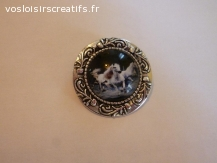 broche épingle argent cabochon