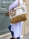 Cabas écru fait main avec en partie des matériaux recyclés