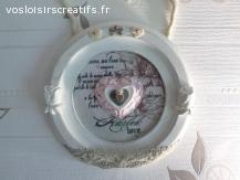 Cadre en bois Vintage, cœur d'amour...
