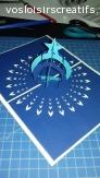 Carte 3D- boule étoile blanc/bleu foncé/bleu clair