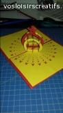 Carte 3D - boule étoile jaune/rouge