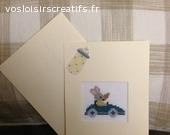 Carte anniversair / naissance 110 x 155 mm brodée