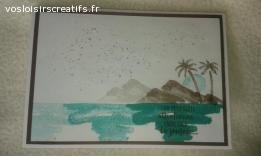 Carte style aquarelle palmier, plage
