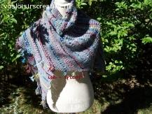 châle laine gris avec rayures couleur