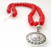 Collier en Perle Rouge pendentif argent