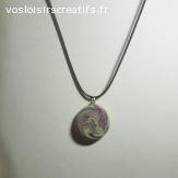 Collier fimo vert et violet