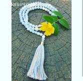 Collier Mala Buddha Pompon Nacre bleu clair