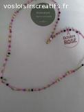 collier  perles de porcelaine fleuries-