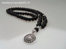 Collier perles Noir Onyx Argenté