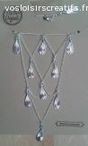Collier ras du cou,multirangs plumes et perles bleu/argenté