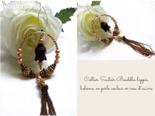 Collier Sautoir Boudhha hippie, bohème, or rose