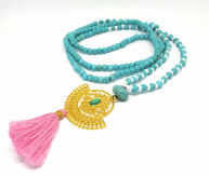 Collier Turquoise Chakra Pompon Rose