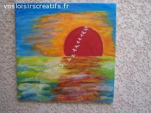 couche de soleil en peinture