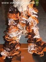 Echarpe volants - coloris mandarine,chocolat et creme